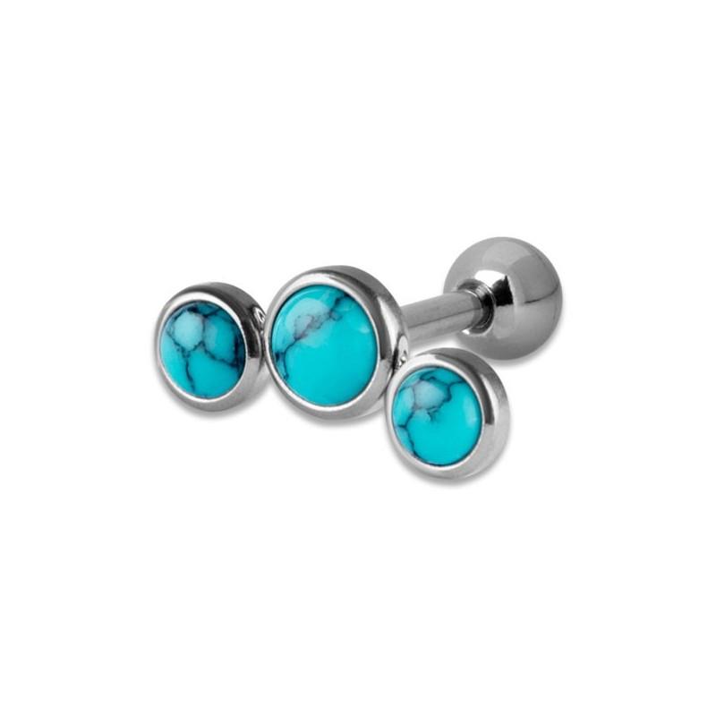 Helix Turquoise Flat Disc Stones 1,2x6mm 3-4-3