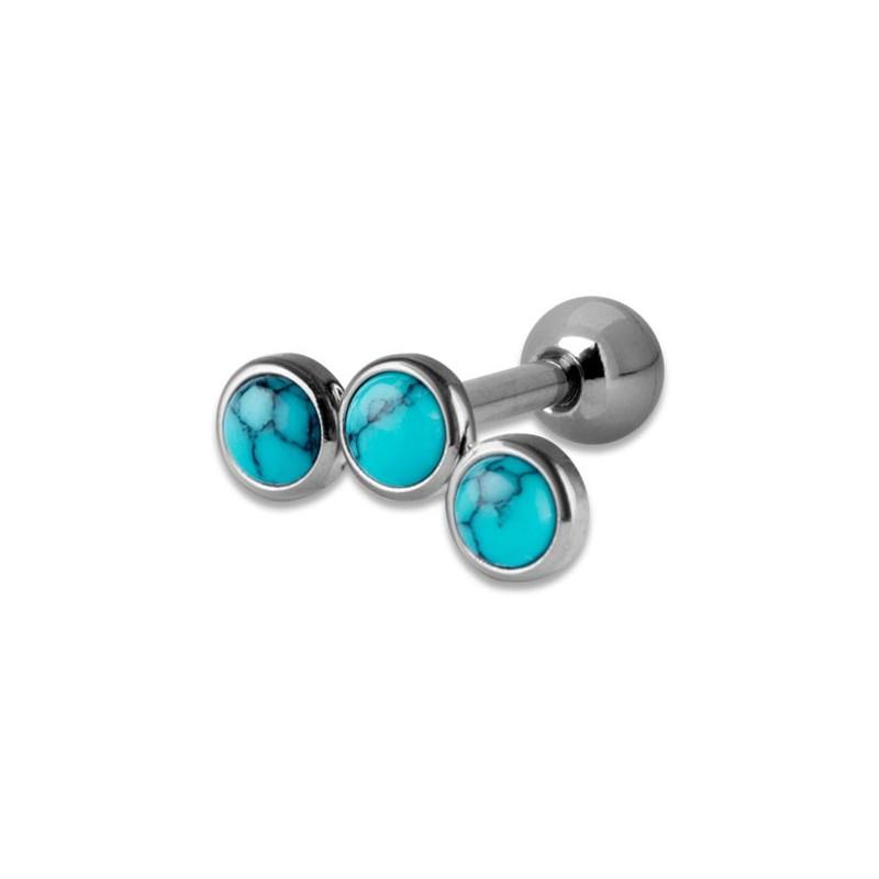 Helix Turquoise Flat Disc Stones 1,2x6mm 3-3-3