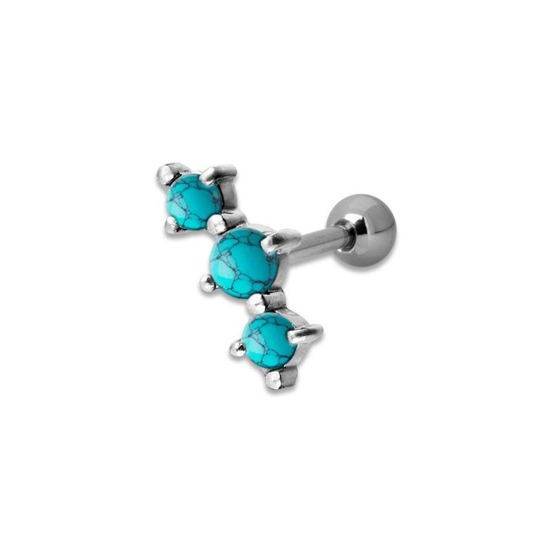 Helix Turquoise 3 Stones 1,2x6mm