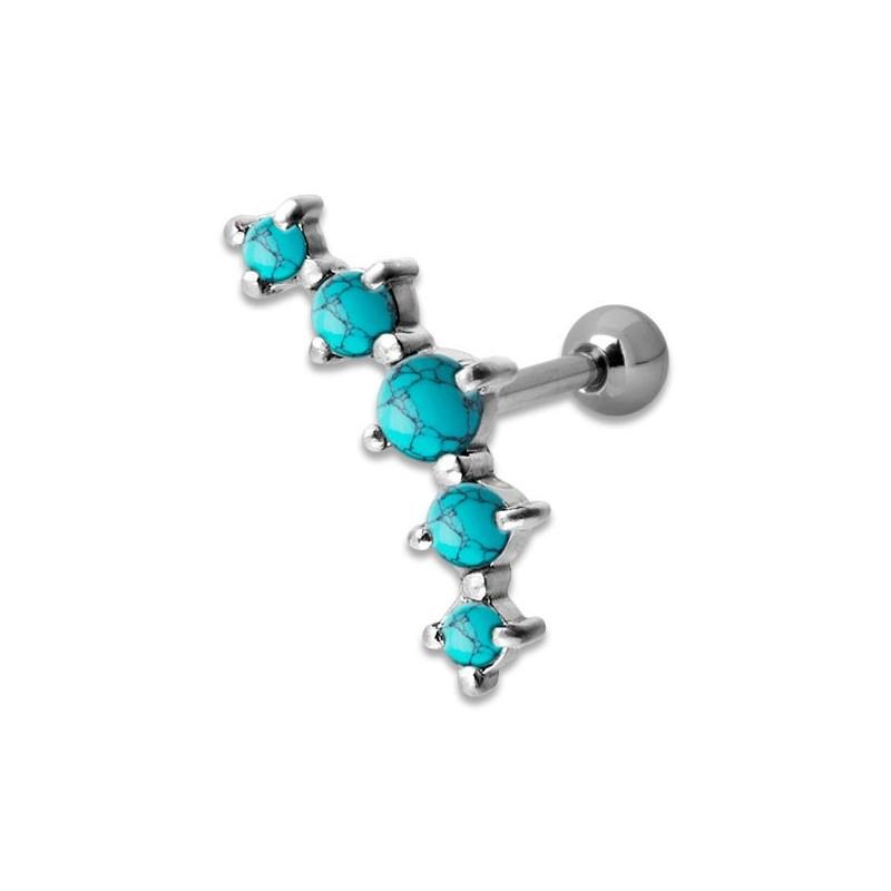 Helix Turquoise 5 Stones 1,2x6mm