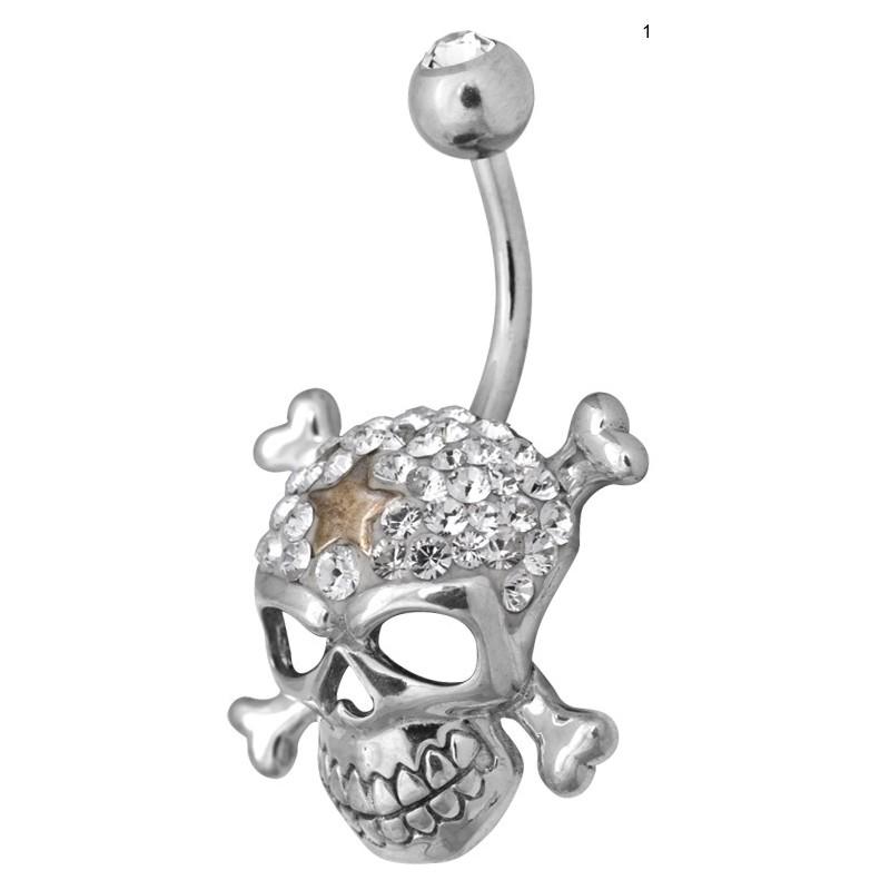 Ce Titanium Crystal Crossbone Skull