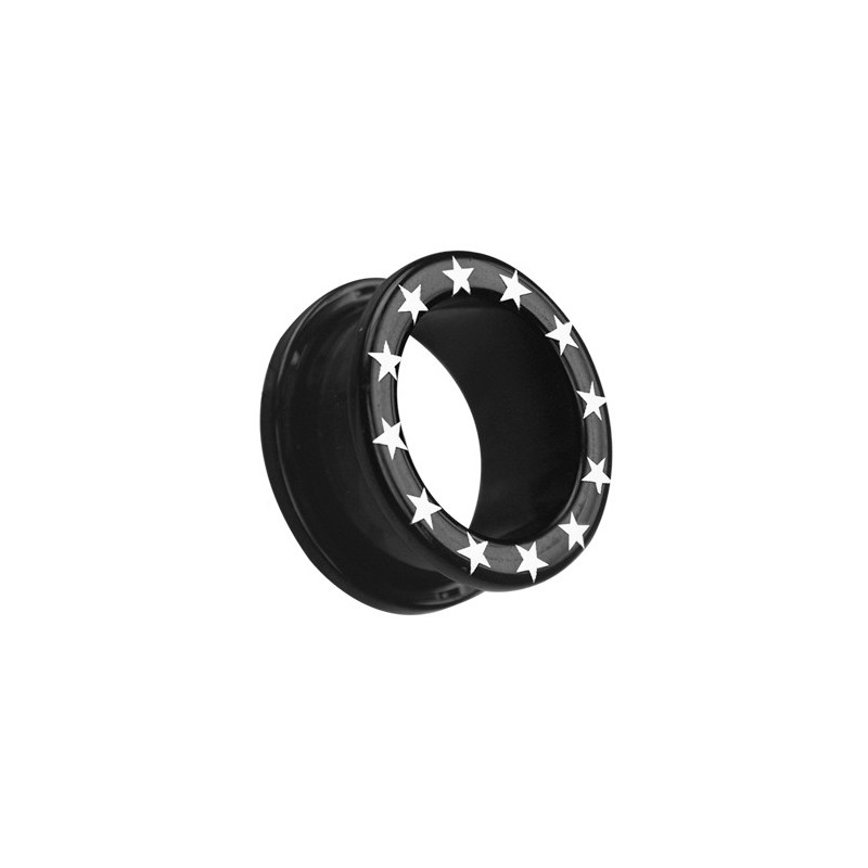 Uv Flesh Tunnels Black W/star