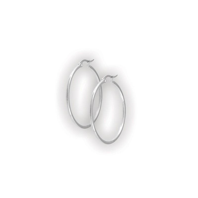 Steel Round Hoop Earrings (2mm)