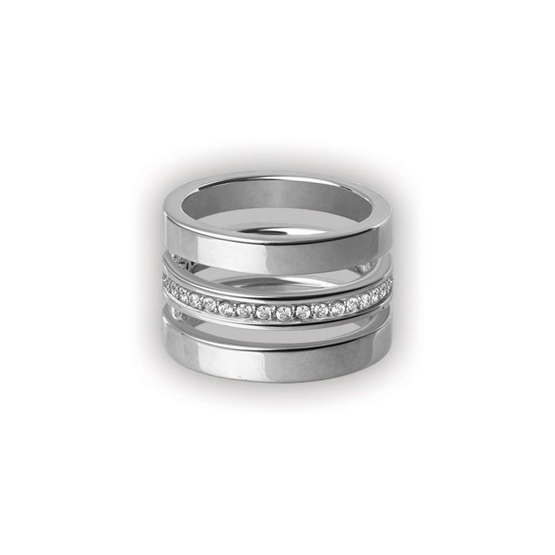 Cubic Jewelled Steel Triple Ring