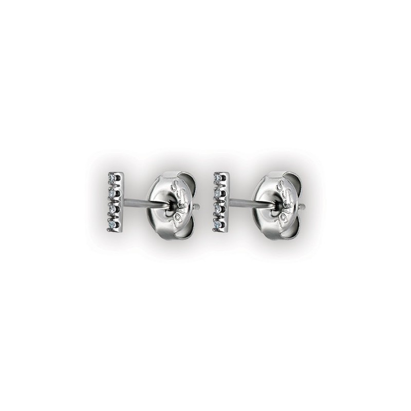Short Bar Studs W/ Micropave Setting Wh